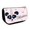 Trousse à maquillage Panda licorne personnalisée avec prénom