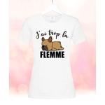Tee shirt femme Bouledogue français J'ai trop la flemme