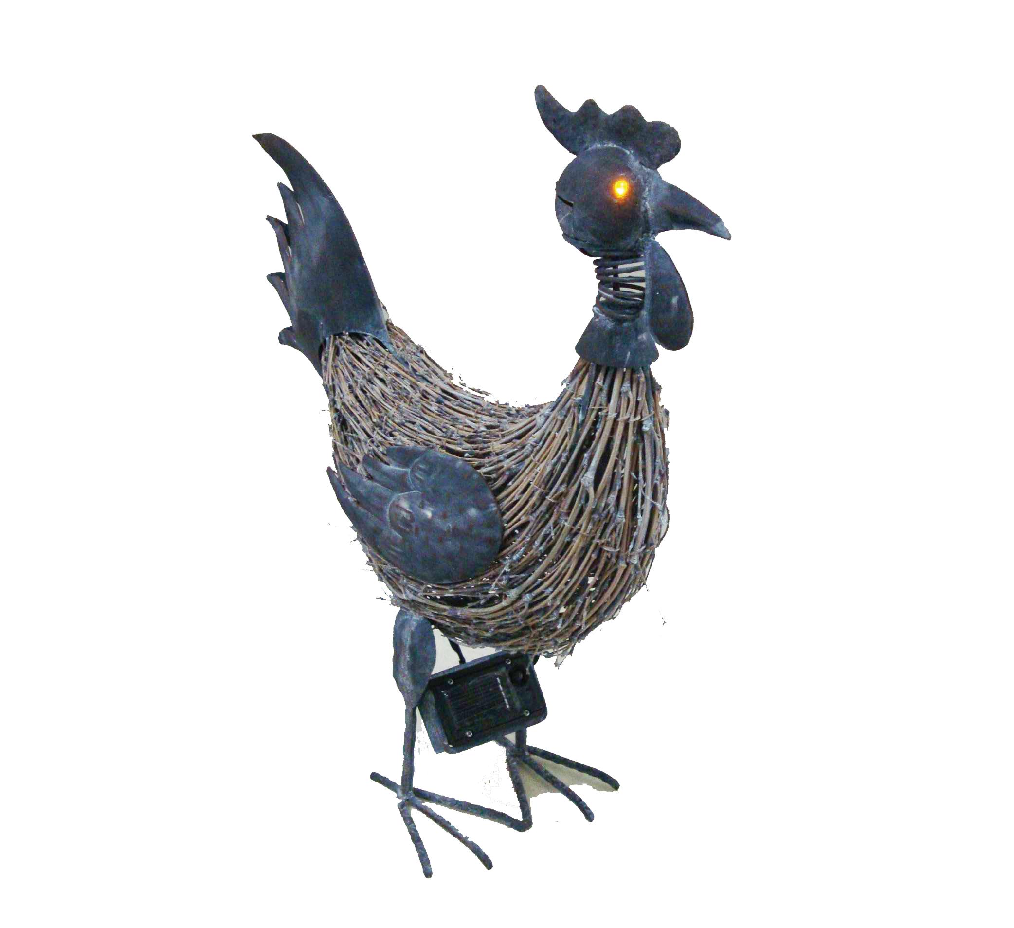 Poule m tal et brindille yeux lumineux solaire d co for Decoration de jardin animaux metal