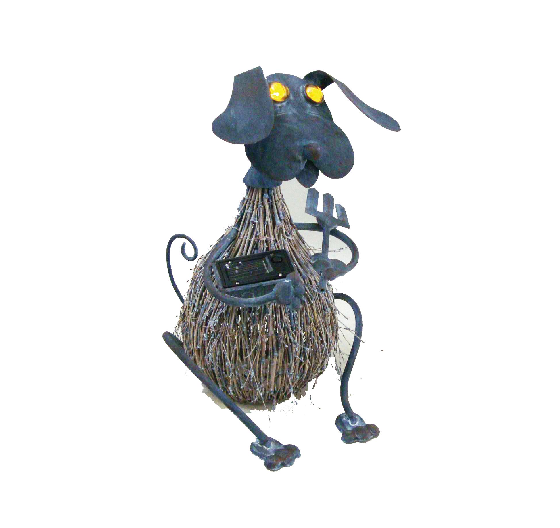 chien m tal et brindille yeux lumineux solaire d co pots et objets d co clairage solaire. Black Bedroom Furniture Sets. Home Design Ideas