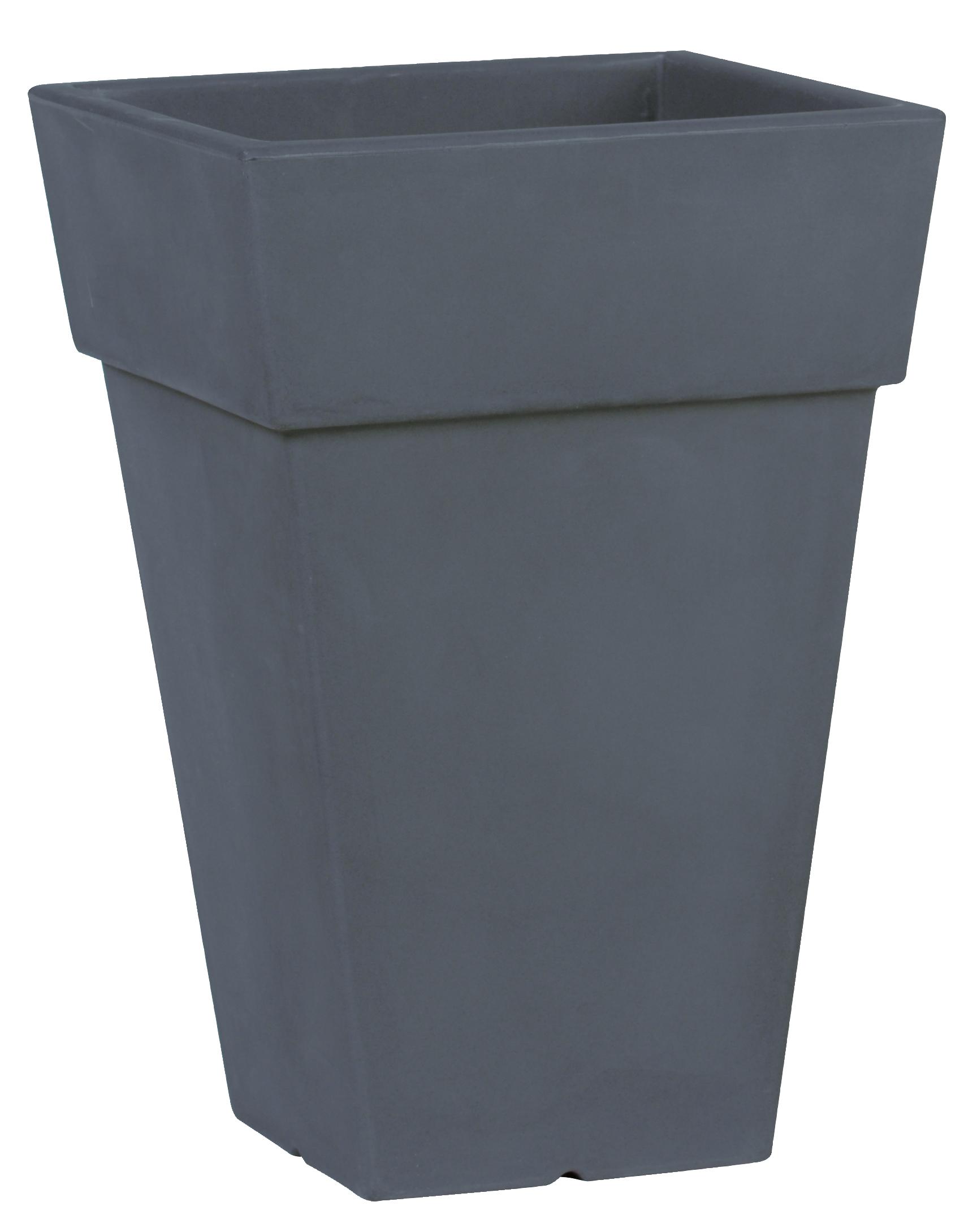 pot carr haut plastique anthracite poterie pots de fleurs design d co boutique d coration. Black Bedroom Furniture Sets. Home Design Ideas