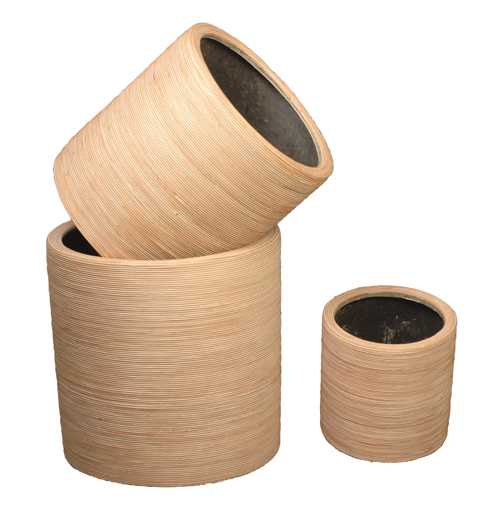 Pot rond en r sine d co rotin poterie cache pot rotin for Resine deco