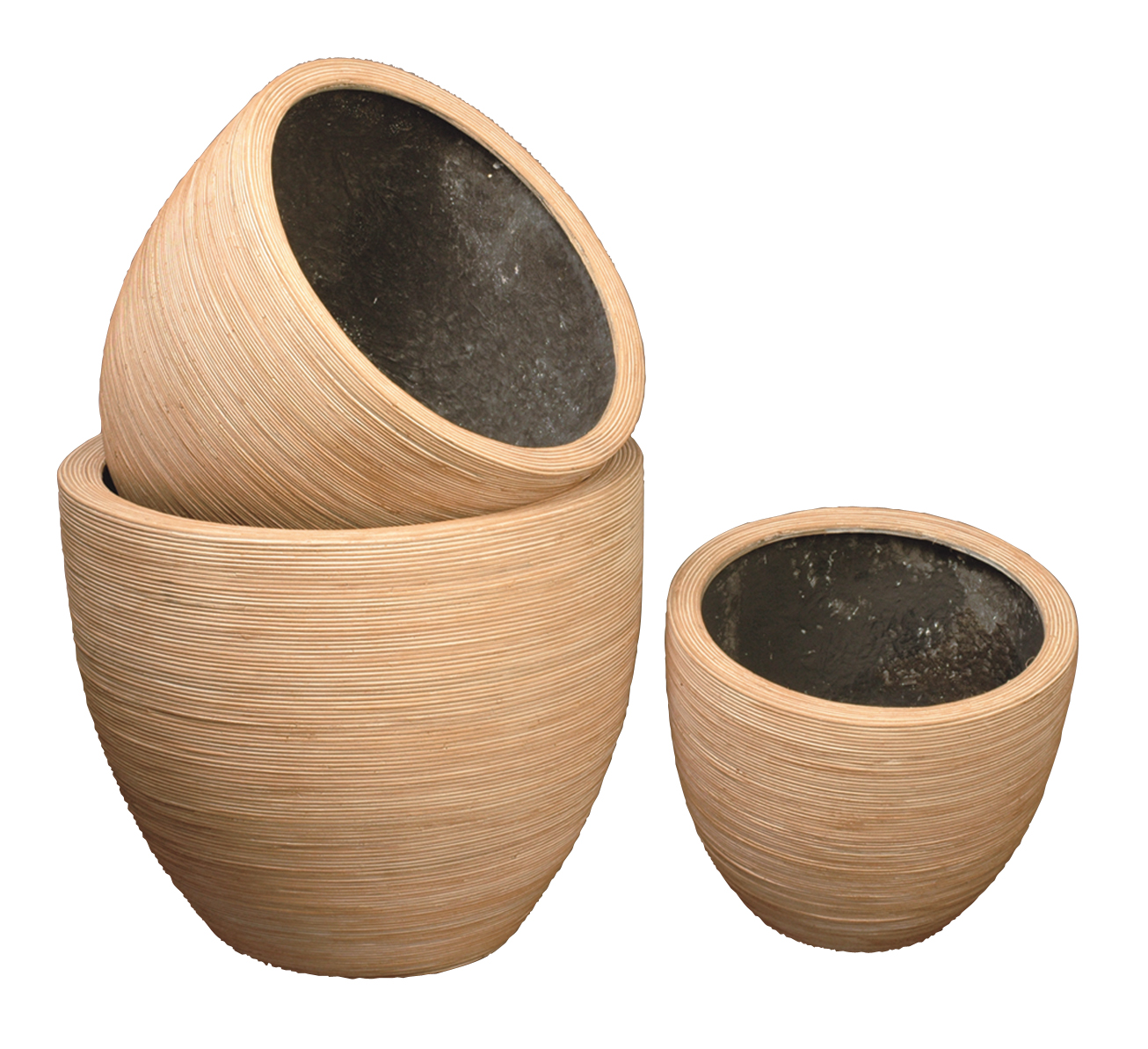 Pot rond en r sine d co rotin naturel blanchi - Cache pot en osier ...