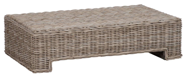 Table basse en rotin naturel épais