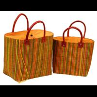 2 cabas rabane colorée / palme