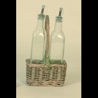 Porte bouteille osier blanchi