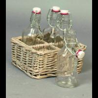 Set osier avec 4 bouteilles