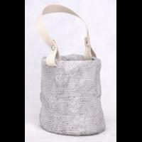 """Cache pot forme """"sac"""" en ciment + anse en toile"""