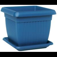 Pot de fleurs carré + soucoupe - coloris bleu