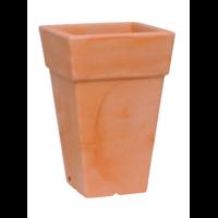 Pot carré haut plastique coloris terre cuite