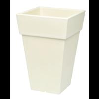 Pot carré haut plastique beige