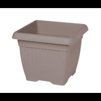 Pot de fleurs carré + soucoupe - coloris taupe