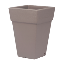 Pot carré haut plastique coloris taupe