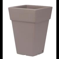Pot carré haut - double paroi - coloris taupe