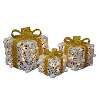 Cadeaux décoratifs lumineux de noël - lot de 3 pièces