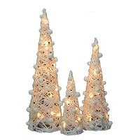 Cônes décoratifs lumineux de noël - lot de 3 pièces