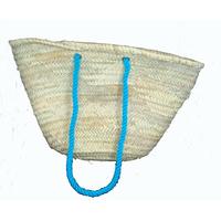 Cabas en palme naturelle - anses en laine couleur turquoise