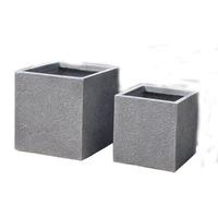 Lot de 2 pots carré en fibre de pierre