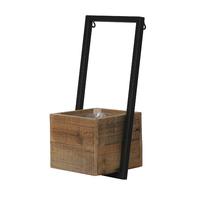 Pot carré bois et métal à poser au mur