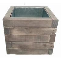 Pot carré en bois avec zinc à l'intérieur