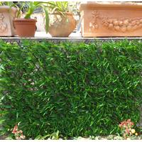 Treillis osier extensible avec feuilles imitation bambou