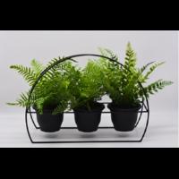 Plantes artificielles avec support métallique trois pots - 58 x 26 x H 39 cm
