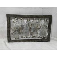 Tableau décoratif noël en métal et bois