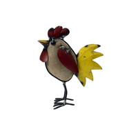 Poule fer et galet coloré