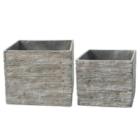 Lot de 2 pots carré en fibre et ciment imitation bois