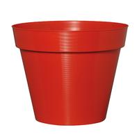 Pot plastique rouge effet strillé
