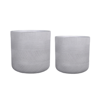 Lot de 2 pots en fibre de pierre coloris blanc