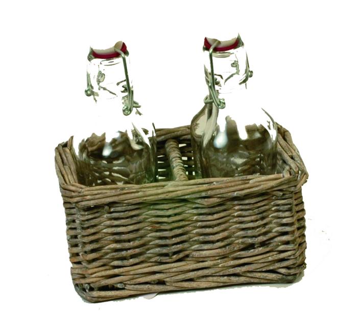 set osier avec 2 bouteilles d co d co de table boutique d coration et am nagement jardin. Black Bedroom Furniture Sets. Home Design Ideas