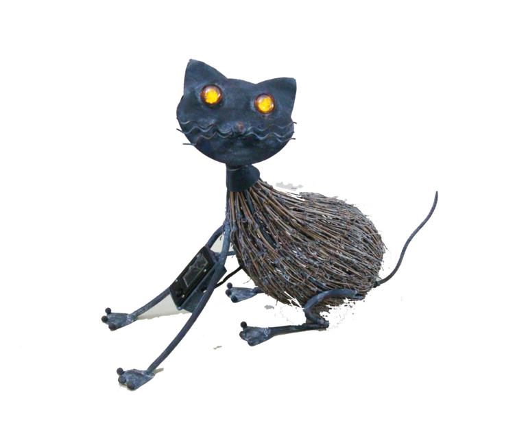 chat m tal et brindille yeux lumineux solaire d co pots et objets d co clairage solaire. Black Bedroom Furniture Sets. Home Design Ideas