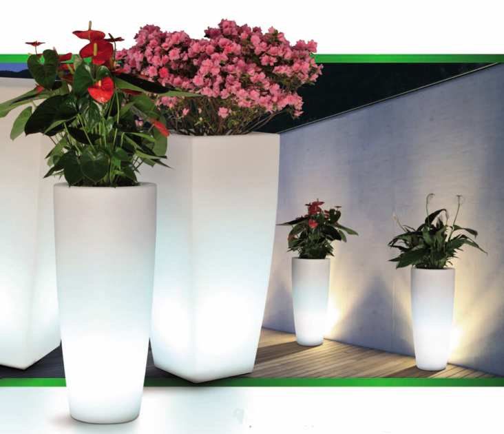 Pot fleur lumineux carr poterie pot de fleurs lumineux boutique d cora - Pot de fleurs lumineux ...