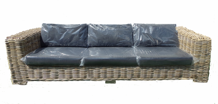 Canap en rotin gris c rus avec coussins d co fauteuil for Canape convertible en rotin