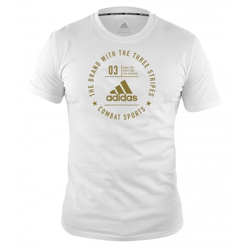 T-shirt Adidas community Blanc et Or