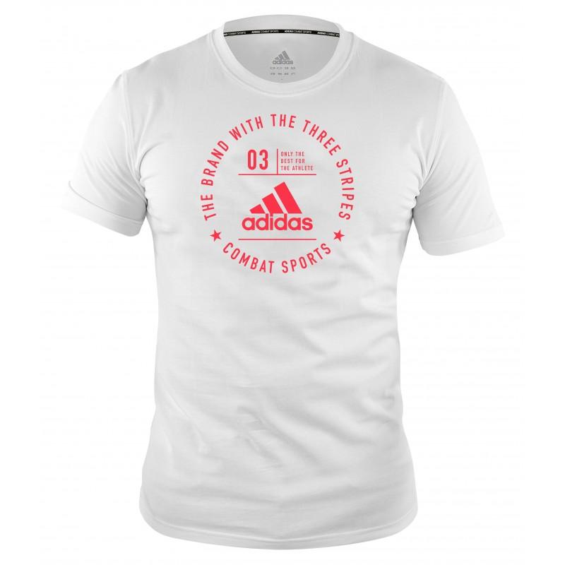 T-shirt Adidas community Blanc et Rouge