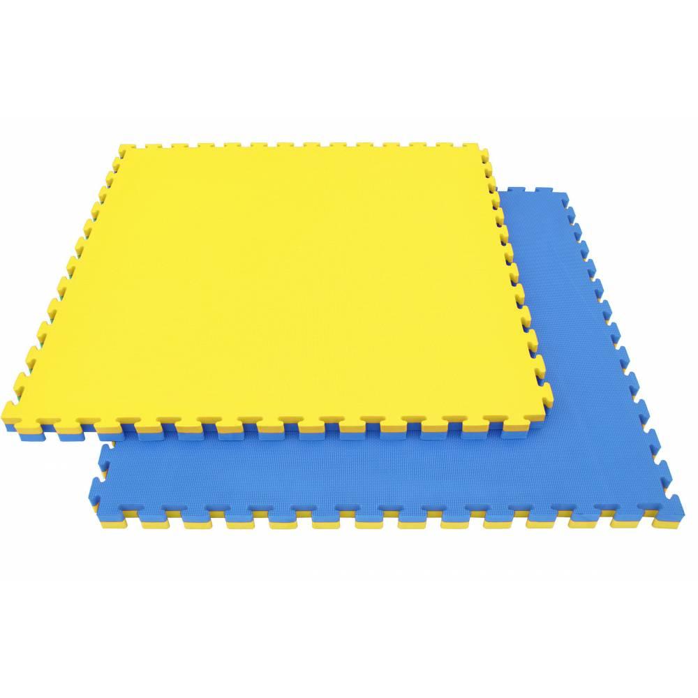 Tatamis puzzle 4 cm Jaune - Bleu - paille de riz