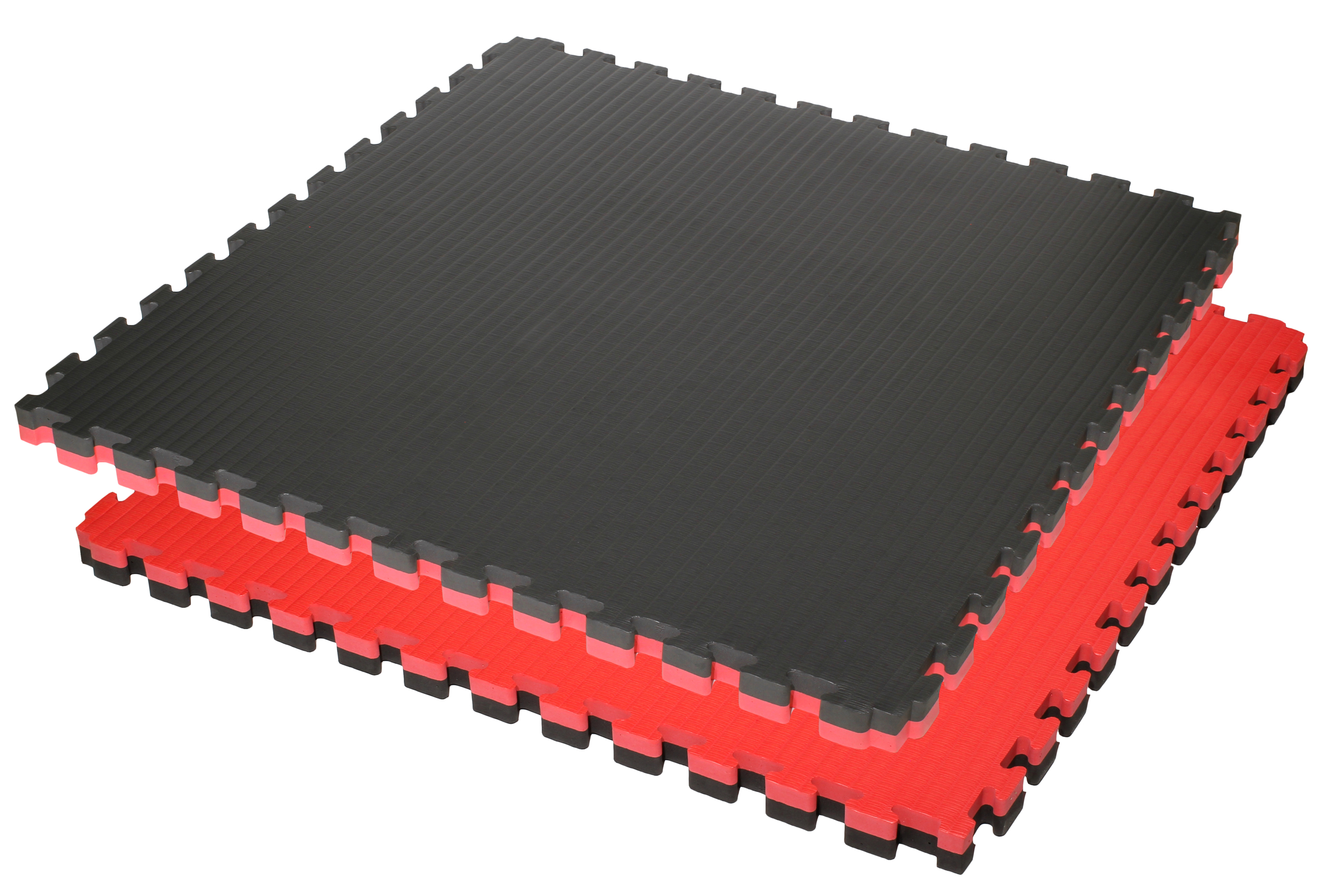 Tatamis puzzle 4 cm Rouge - Noir finition paille de riz