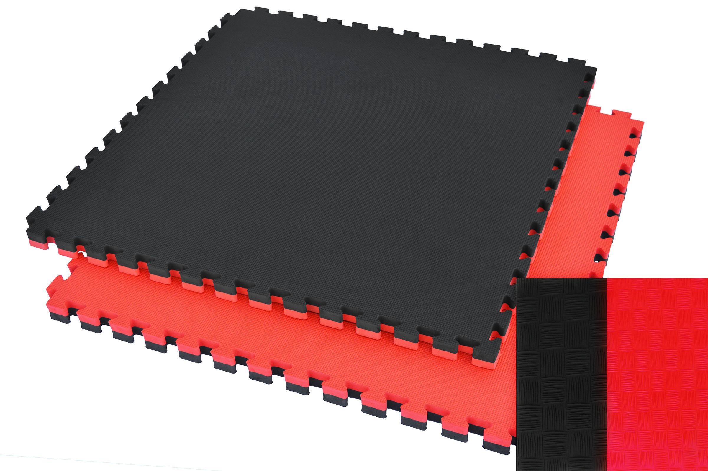 Tatamis puzzle 2.5 cm Rouge - Noir finition paille de riz