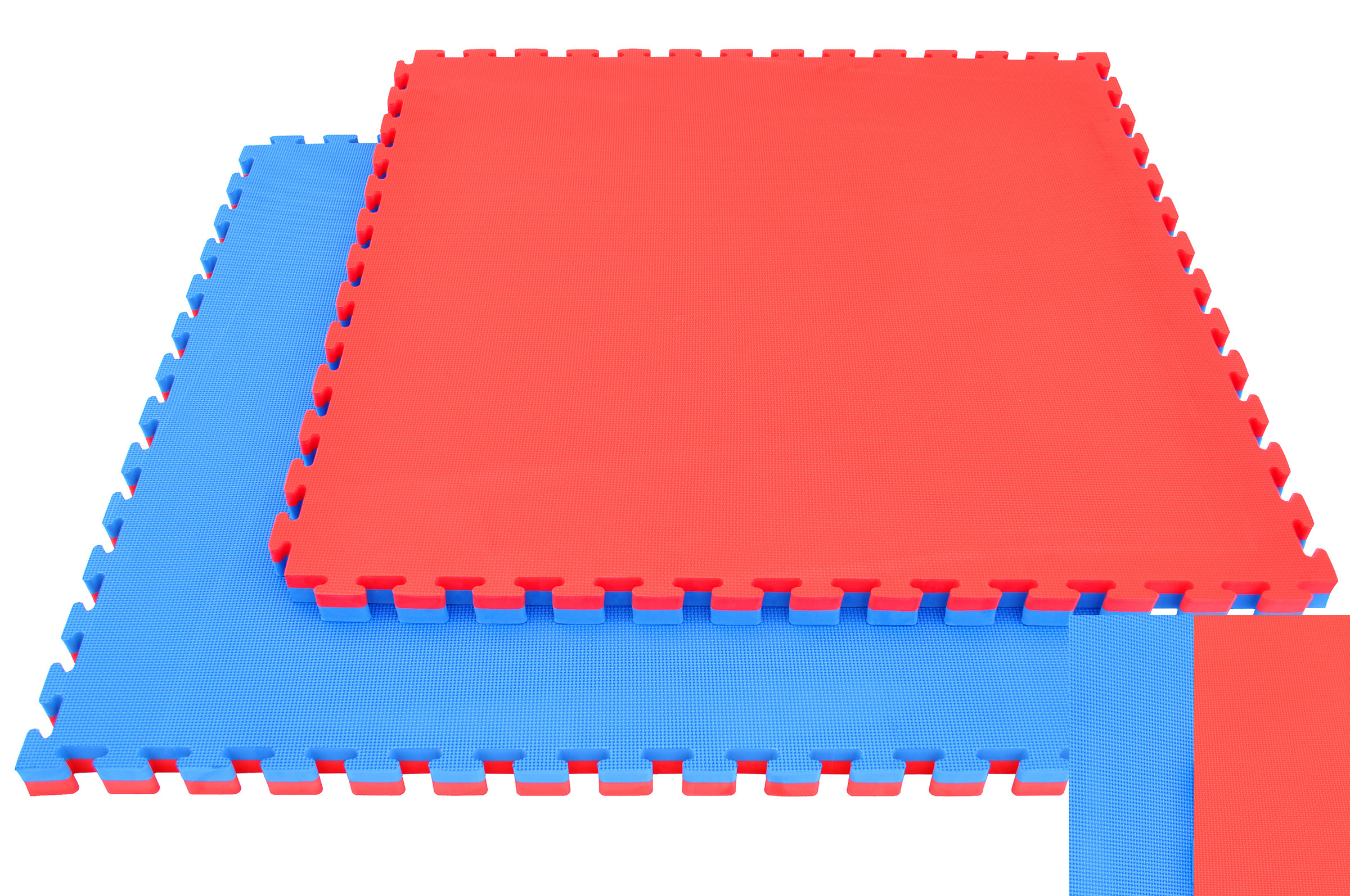 Tatamis puzzle 2 cm Rouge - Bleu motif T