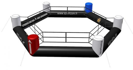 Ring de boxe gonflable hexagonnal
