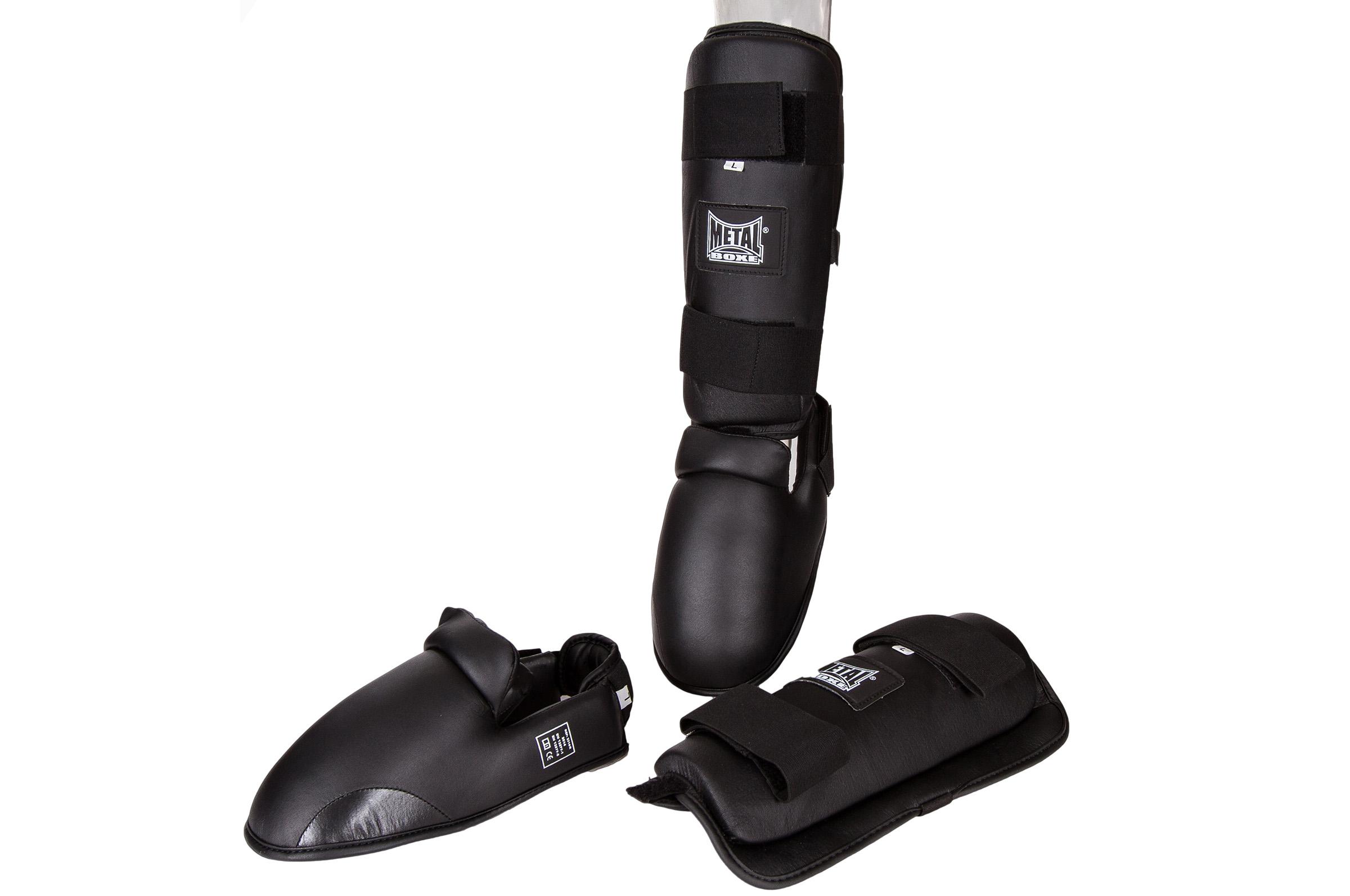 Protège tibias-pieds Métal boxe