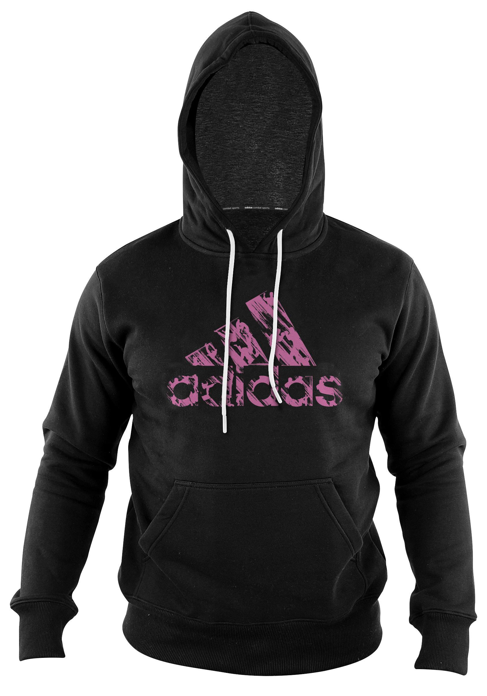 Sweat à capuche Adidas noir et rose