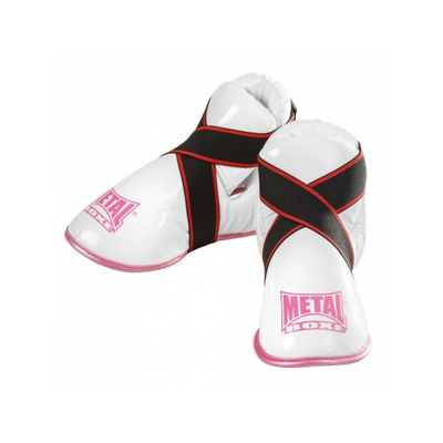 proteges-pieds-blanc-rose-metal-boxe