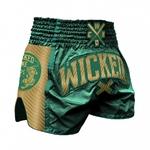 short-de-boxe-thai-wicked-one-shining-vert-or
