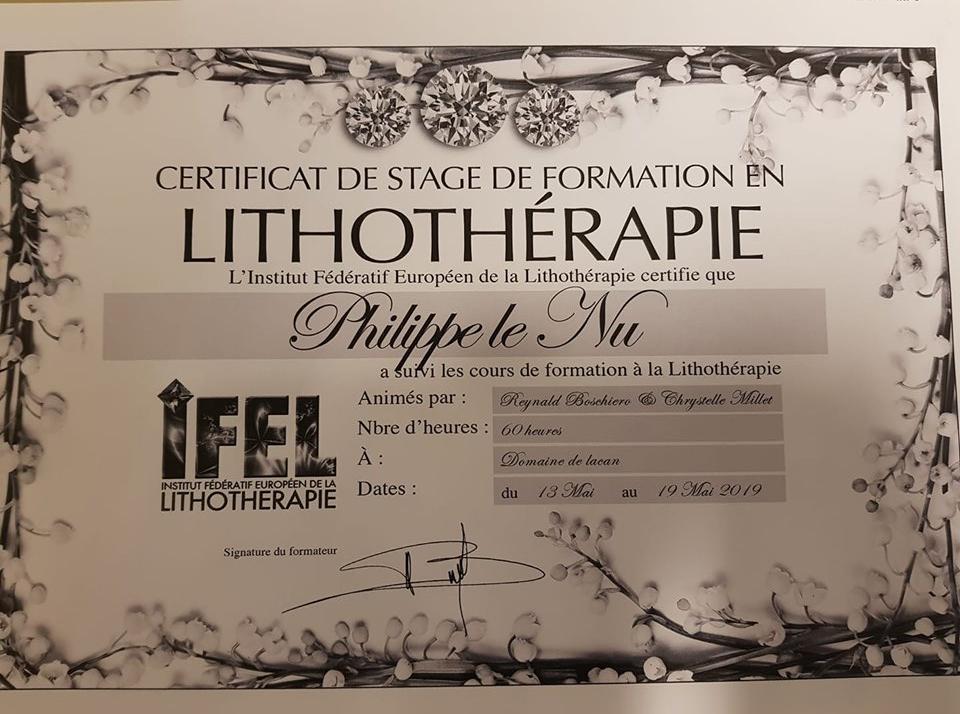 certificat lithoherapie philippe le nu