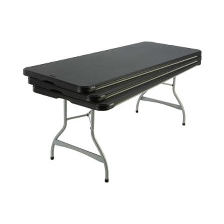 table noire pliante rectangle poly thyl ne longueur 183 cm mat riel pour collectivit s. Black Bedroom Furniture Sets. Home Design Ideas