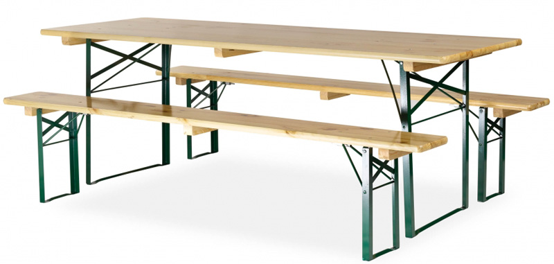 Table avec banc en bois 220x70 cm pi tement corni re for Table exterieur avec banc