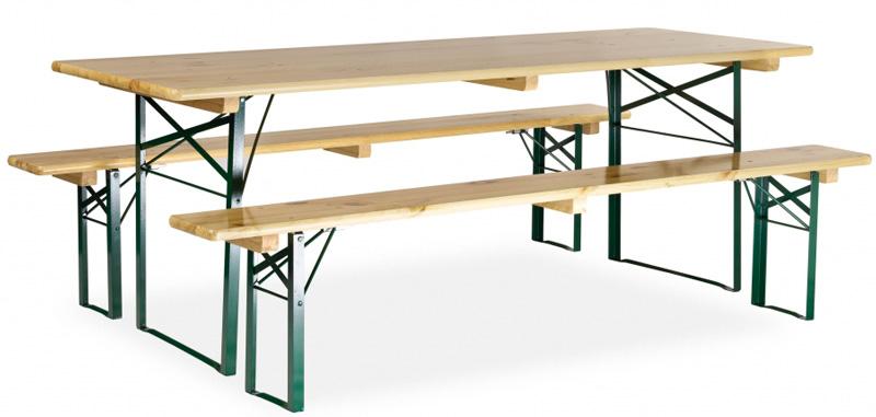 Table avec banc en bois 220x80 cm pi tement corni re for Table avec banc